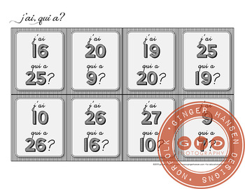 J'ai, qui a?  Classroom activity for learning numbers 1-30