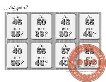 J'ai, qui a? Classroom activity for learning numbers 30-60