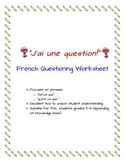 """""""J'ai une question!"""" --French questioning worksheet"""