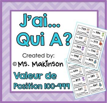 """""""J'ai...Qui A?"""" Valeur de Position (L'Espace) 100-999"""