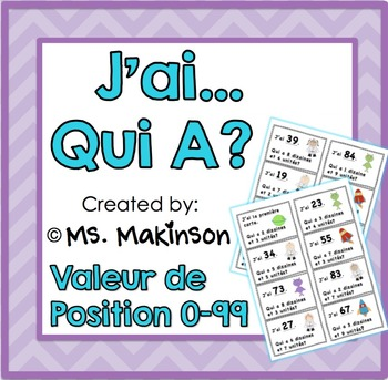 """""""J'ai...Qui A?"""" Valeur de Position (L'Espace) 0-99"""