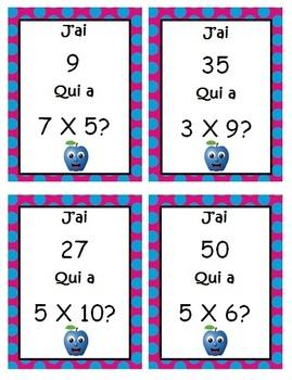 J'ai...Qui a    Jeu de multiplications (french - français)