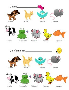 J'aime Animal Vocabulary