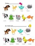 J'aime Animal Vocabulary