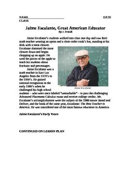 Jaime Escalante Reading Activity