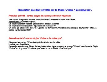 French: J'aime / Je n'aime pas