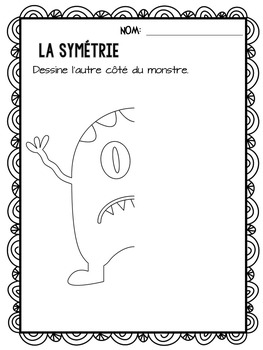 {J'aime les monstres!} Activities for grade 2 French immersion or Core French