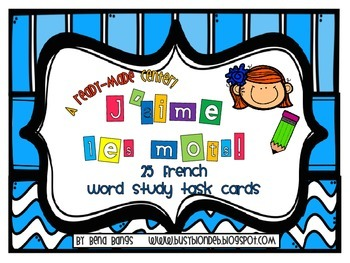 {J'aime les mots!} 25 French Word study task cards for primary French immersion