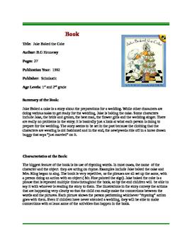 Jake Baked the Cake Rhyming Reading Center Activity