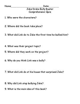 Jake Drake Bully Buster Comprehension Quiz