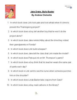 Jake Drake Bully Buster by Andrew Clements, Battle of the Books Questions