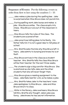 Jake Drake, Class Clown (Andrew Clements) Novel Study / Reading Comprehension