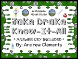 Jake Drake, Know-It-All (Andrew Clements) Novel Study / Comprehension (32 pages)