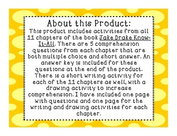 Jake Drake Know-It-All Comprehension Unit