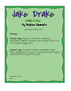 Jake Drake Know-It-All Literature Unit