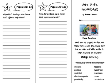 Jake Drake Know-It-All Trifold - Imagine It 5th Grade Unit 2 Week 3