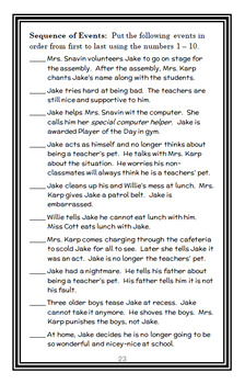 Jake Drake, Teacher's Pet (Andrew Clements) Novel Study / Reading Comprehension