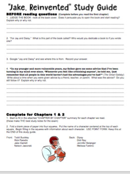 Jake Reinvented - Chapter Questions (printable package)
