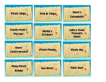 Jake and Neverland Pirates themed food labels