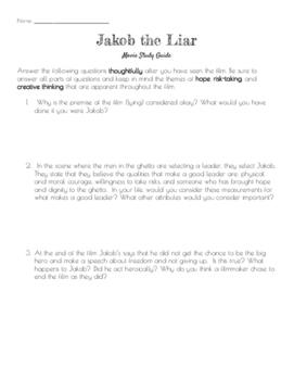 Jakob the Liar Film Worksheet