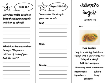 Jalapeno Bagels Trifold - Imagine It 2nd Grade Unit 3 Week 3
