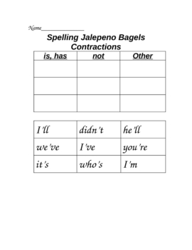 Jalepeno Bagels Cut and Paste Spelling Sort Houghton Mifflin Reading
