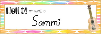 Jam Out Watercolor Editable Nameplates