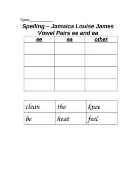 Jamaica Louise James Cut and Paste Spelling Sort Houghton Mifflin