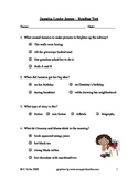 Jamaica Louise James ~ Reading Comprehension/Vocabulary Test/Quiz