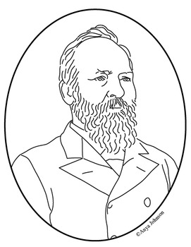 James A. Garfield (20th President) Clip Art, Coloring Page or Mini Poster