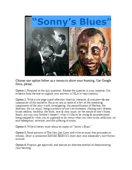 "James Baldwin's ""Sonny's Blues"" Assessment Options"