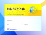 James Bond Certificate Award | Creativity, Science, Technology