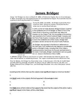 James Bridger Article Biography and Assignment