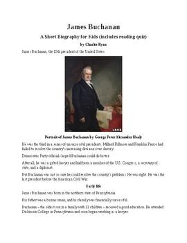 James Buchanan - A Short Biography for Kids (includes reading quiz)