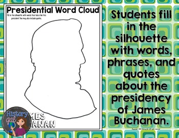 James Buchanan Coloring Page and Word Cloud Activity