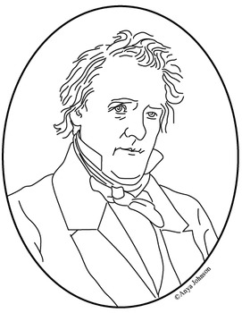 James Buchanan (15th President) Clip Art, Coloring Page or