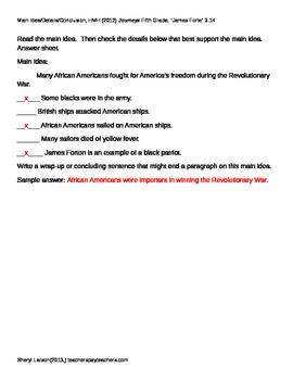 """""""James Forten"""": Main Idea / Details / Conclusion, HMH (2012), Journeys, 3.14"""