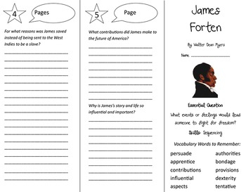 James Forten Trifold - Journeys 5th Grade Unit 3 Week 4 (2014, 2017 Common Core)