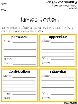 James Forten Vocabulary Grids