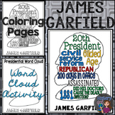 James Garfield Coloring Page and Word Cloud Activity