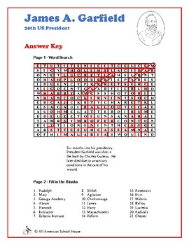 James Garfield - Presidents Word Search and Fill in the Blanks