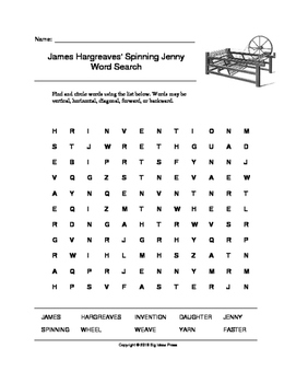 James Hargreaves' Spinning Jenny Word Search (Grades 3-5)