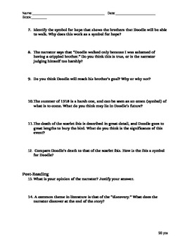 """James Hurst """"The Scarlet Ibis"""" Reading Questions"""