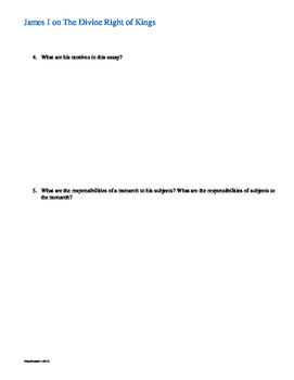 James I The Divine Right of Kings Primary Source Document & Analysis Questions