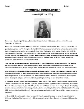 James II  Biography Article and (3) Assignments
