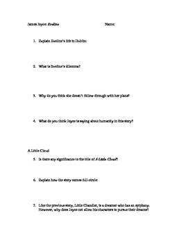 James Joyce - Dubliners - Evaline & A Little Cloud - Short Response/MC Quiz