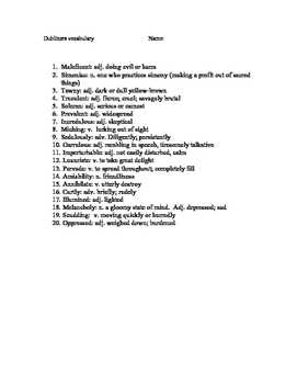 James Joyce - Dubliners - Vocabulary List and Test
