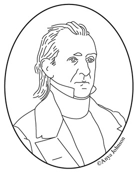 James K. Polk (11th President) Clip Art, Coloring Page or Mini Poster