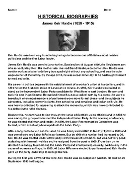 James Keir Hardie  Biography Article and (3) Assignments