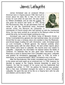 James Lafayette Activities (VS.5b)